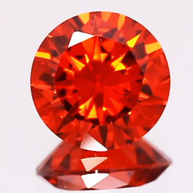 Rot-Orange Zirkonia 7 mm im Brillantschliff